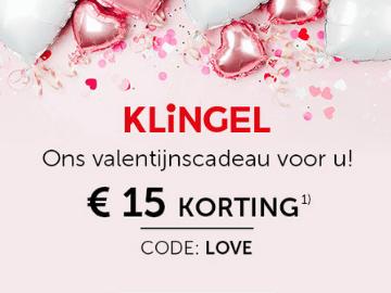 Klingel €15,- kortingscode tijdens Valentijn